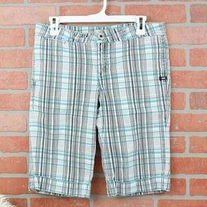 Vans Teal/Black/White Plaid Bermuda Shorts 5